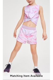 Marble Swirl Printed Sports Shorts (3-16yrs)