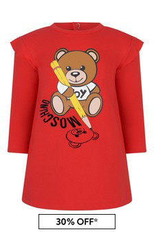 Baby Girls Red Cotton Teddy Dress