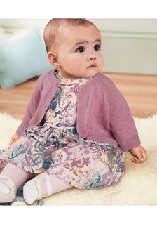 Lilac Floral Prom Dress, Cardigan And Tights Set (0mths-2yrs)