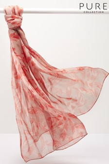 Pure Collection Pink Silk Printed Scarf