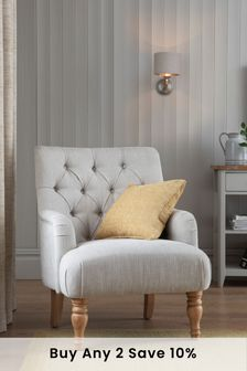 Soft Texture Light Natural Wolton Button Armchair With Light Legs