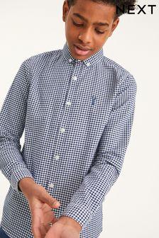 Navy Long Sleeve Gingham Check Oxford Shirt (3-16yrs)