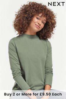 Khaki Green High Neck Long Sleeve Top