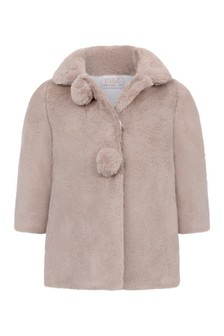 Baby Girls Light Brown Faux Fur Coat