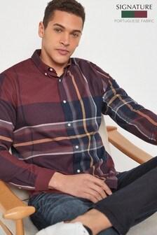 Check Oversized Long Sleeve Shirt