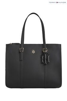 Tommy Hilfiger Black TH Chic Satchel Handbag