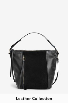 Black Zip Detail Leather Slouchy Hobo Bag
