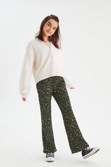 Green/Black Animal Kick Flare Jersey Trousers (3-16yrs)
