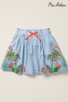 Mini Boden Blue Zebra Embroidered Woven Skirt