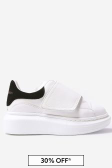 Kids White/Black Leather Velcro Trainers
