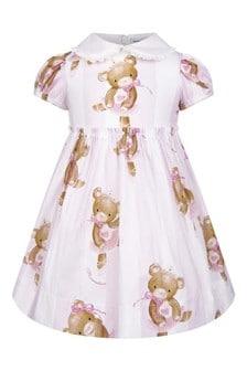 Baby Girls Pink Striped Cotton Teddy Ballerina Dress