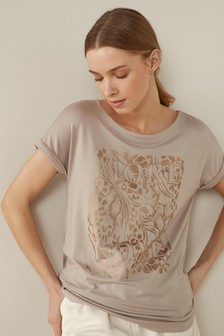 Mink Foil Print Curved Hem T-Shirt