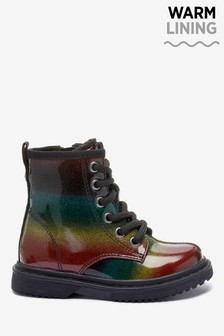 Rainbow Warm Lined Lace-Up Boots (Younger)