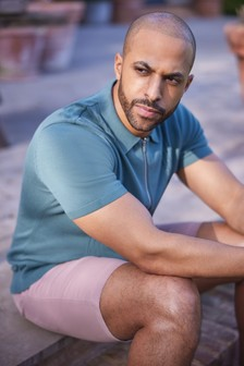 Pink Slim Fit Stretch Chino Shorts