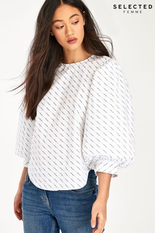 Selected Femme White Logo Print Ballon Sleeve Blouse