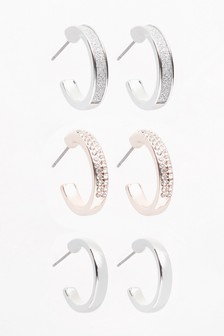 Silver Tone Mixed Metal Sparkle Hoop Earrings Three Pack