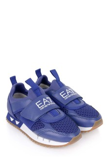 Kids Blue/White Logo Trainers