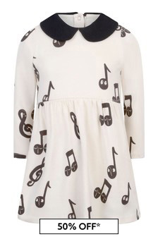 Girls Ivory Organic Cotton Notes Dress