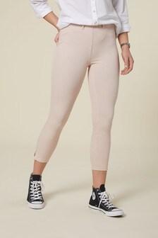 Pink Stripe Jersey Cropped Leggings