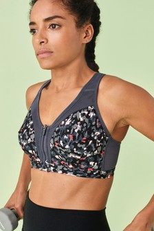 Pink Print High Impact Zip Front Sports Bra