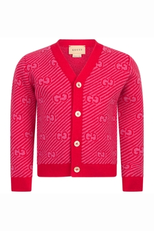 Baby Boys Red Wool Cardigan
