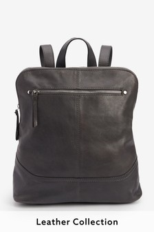 Grey Leather Stitch Detail Backpack