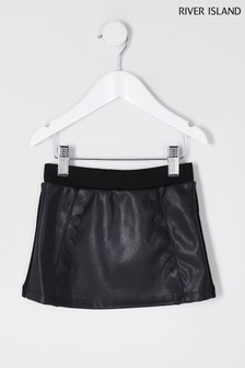 River Island Black Scallop Skirt