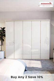 White Peyton 2.5M Glass Hinged 5 Door Wardrobe
