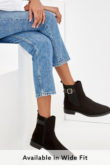 Black Forever Comfort® Buckle Chelsea Boots