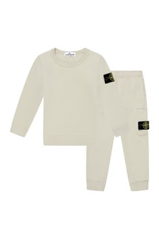 Boys Beige Cotton Tracksuit