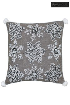 Christmas Snowflakes Embroidered Sequin Cushion by Riva Home