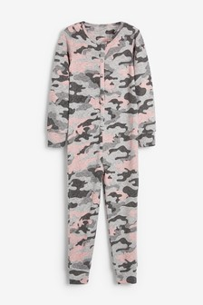 Pink/Grey Camo Knit Look All-In-One (3-16yrs)
