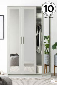 Grey Flynn Framed Mirror Triple Wardrobe