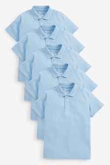 Blue 5 Pack Cotton Poloshirts (3-16yrs)