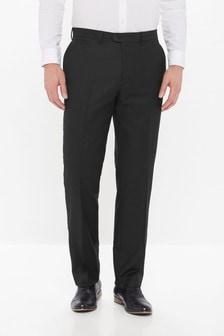 Black Regular Fit Wool Blend Textured Trousers