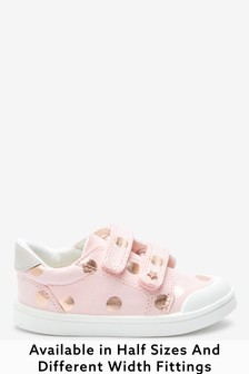 Pink Spot Wide Fit (G) Canvas Bumper Toe Trainers (Younger)