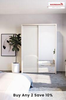 White-mirror Peyton Rustic Oak Effect Large Sliding Wardrobe