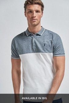 Blue Colourblock Polo Shirt
