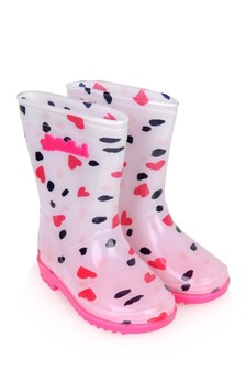 Girls Heart Print Rain Boots