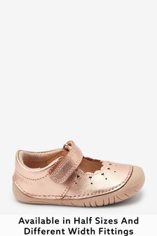 Rose Gold Leather Wide Fit (G) Crawler Mary Jane Shoes