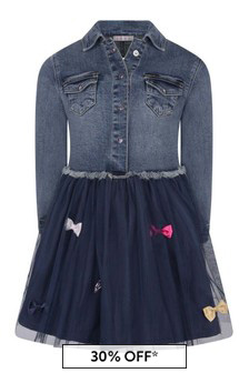 Girls Blue Denim And Tulle Dress