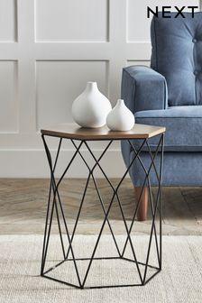Black and Oak Effect Hexagon Side Table / Bedside