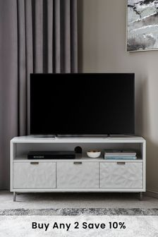 Mode White Textured Corner TV Stand