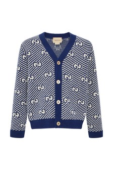 Baby Boys Blue Wool Cardigan