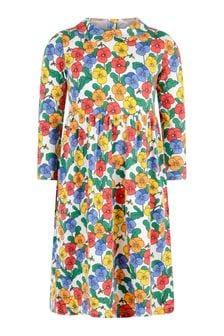 فستان قطن عضوي ألوان متعددة بياقة بنفسج بناتي