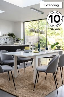 White White Gloss Double Extending Dining Table