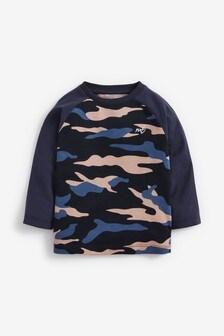 Blue Long Sleeve Raglan Camo Printed T-Shirt (3mths-7yrs)