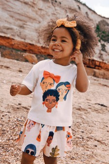 Peach Faces T-Shirt And Shorts Co-ord Set (3mths-7yrs)