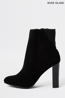 River Island Black Almond Toe Smart Boots