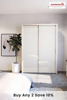 White Peyton Rustic Oak Effect Large Sliding Wardrobe